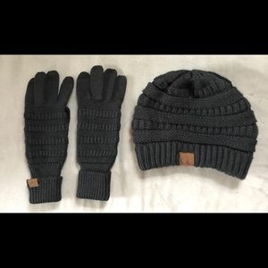 Accessories - New CC Black Gloves & Beanie Hat Set